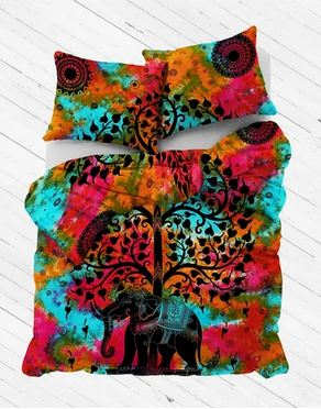 Tie Dye Elephant Tree Duvet Cover