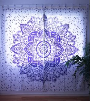Lavender Flower Mandala Curtains