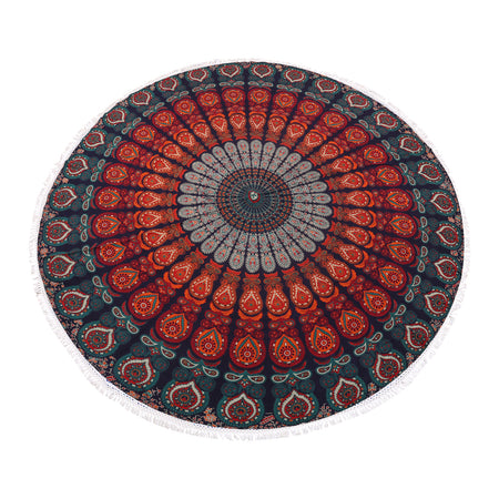 Golden Blue Roundie Beach Towel, Table Cover