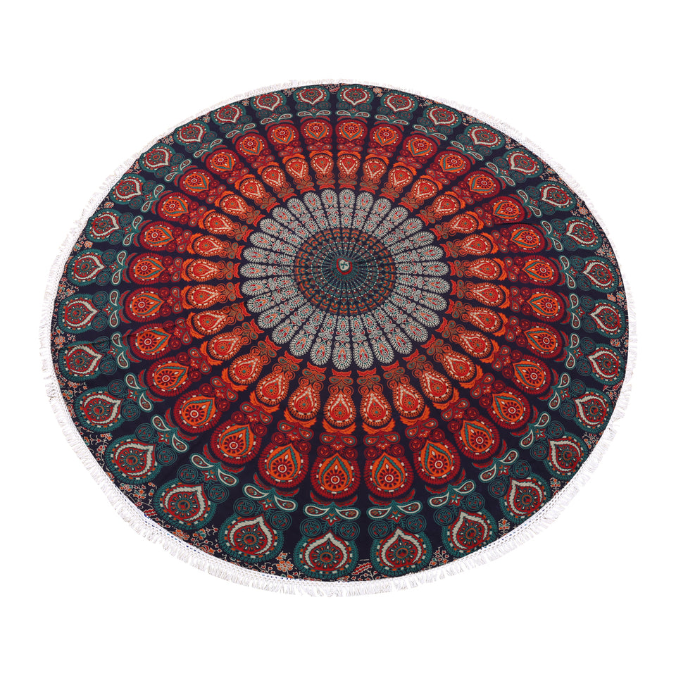 Golden Blue Roundie Indian Hippie Bohemian Psychedelic Peacock Mandala Beach Towel, Table Cover Tapestry