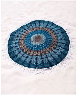 Teal Blue Morpankh Dreams Roundie  70 Inch