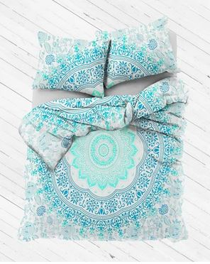 Aqua Watercolor Mandala Duvet Cover