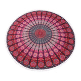 Purple Pink Roundie Indian Hippie Bohemian Psychedelic Peacock Mandala Beach Towel, Table Cover Tapestry