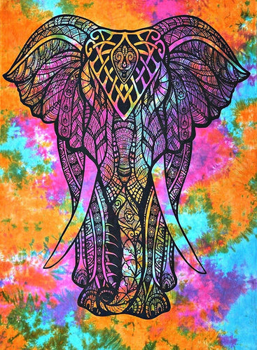 Multi Color Tie Dye Hand Made Front Elephant Tapestry