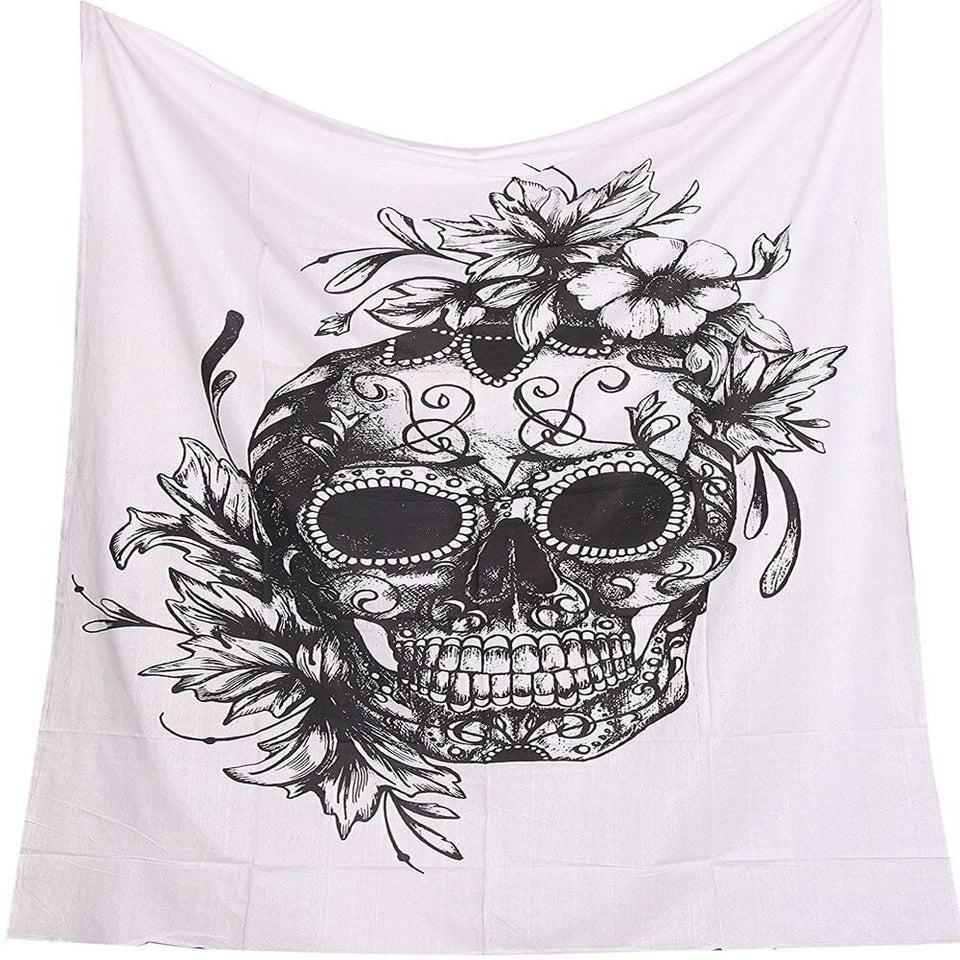 Digital Black & White Skull Polyester Tapestry (Twin((72x41 Inches)(183x104cms))