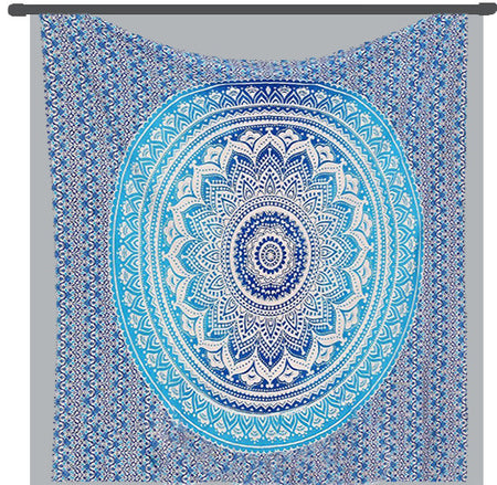 Indian Hippie Ethnic Bohemian Psychedelic Blue Ombre Mandala Handmade Tapestry - Bless International - Tapestries & Handicraft Exporter & Retailer - 4