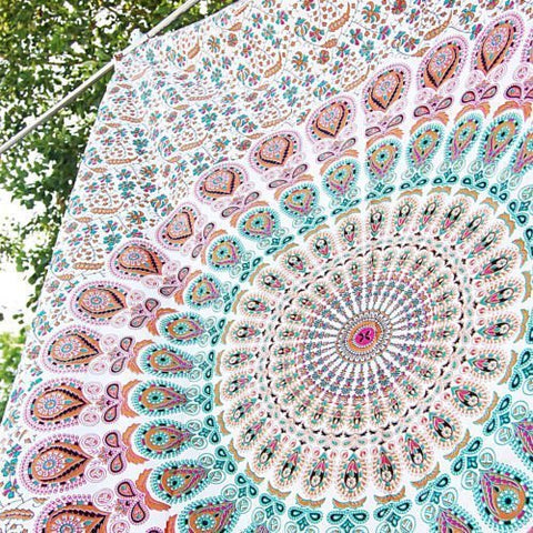 Indian hippie Bohemian Psychedelic Peacock Mandala Wall hanging Floral Gold Bedding Tapestry