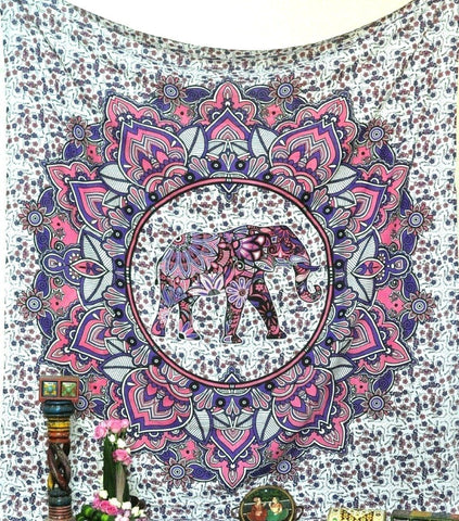 Bless International Beautiful Pink Flower Elephant Mandala Tapestry by Tapestry Mantra