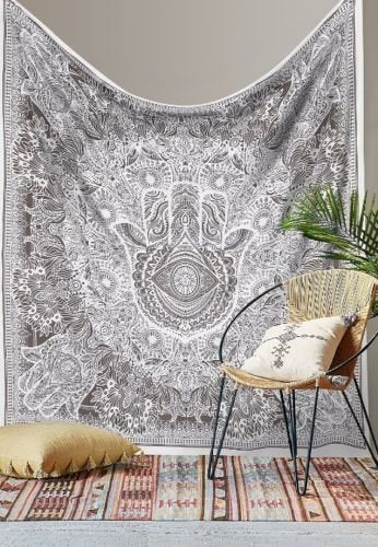 Black And White Hamsa Hand Indian Traditional Hippie Wall Hanging Cotton Tapestry Bohemian Bedspread