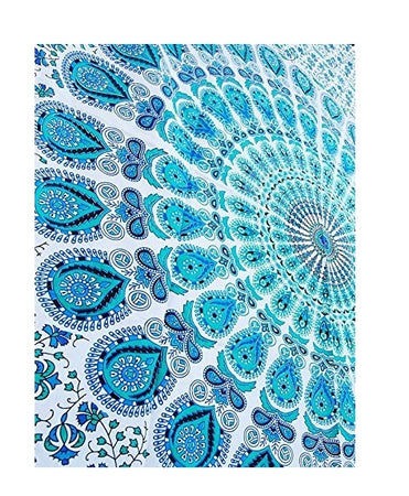 Bless International Indian Hippie Bohemian Psychedelic Peacock Mandala Wall Hanging Bedding Tapestry (Peacock Sky Blue, Twin(54x72Inches)(140x185cms)