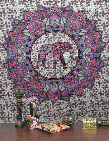 Pink Elephant Flower Elephant Tapestry by Bless International