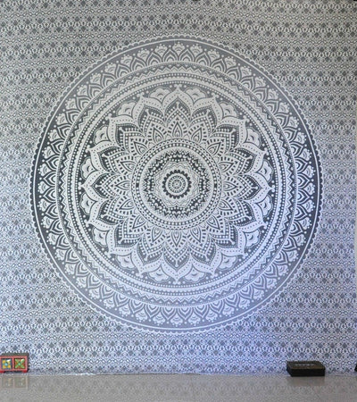 Bless International Indian Traditional Mandala Hippie Wall Hanging, Cotton Tapestry Ombre Bohemian Bedspread (Queen(84x90 Inches)(215x230 cm), Grey/Black)