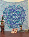 Bless International Blue Green Flower Indian Bohemian Psychedelic Floral Ombre Mandala Tapestry