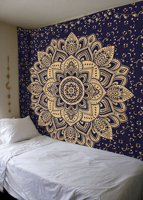 Navy Blue Gold  Wall Hanging Cotton Ombre Tapestry
