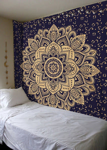 Navy Blue Gold Indian Mandala Hippie Wall Hanging Cotton Ombre Tapestry