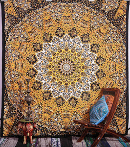 Indian Psychedelic Yellow Star Mandala Bohemian Handmade Tapestry