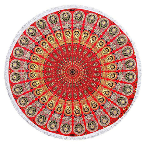 Golden Red Roundie Indian Hippie Bohemian Psychedelic Peacock Mandala Beach Towel, Table Cover Tapestry
