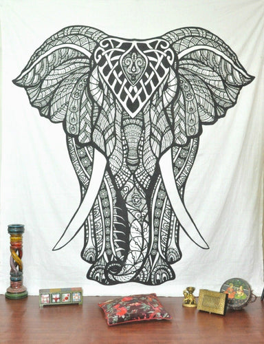 Black And White Front Elephant Tapestry
