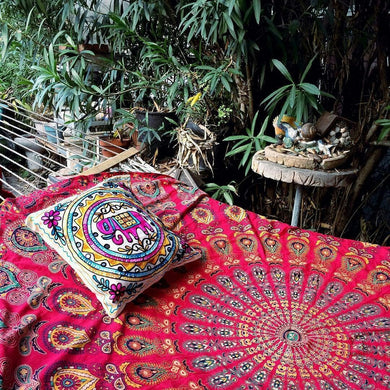 Bless International Indian Hippie Bohemian Psychedelic Peacock Mandala Wall Hanging Bedding Tapestry (Golden Red, King(88x104Inches)(225x265Cms))