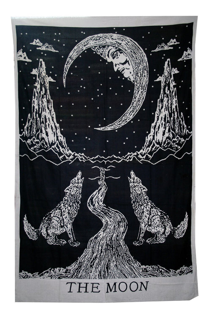 Crying Wolf Of The Moon Tapestry Wall Hanging Bohemian Bed Sheet Ethnic Art