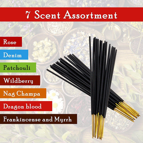 7 assorted scents Frankincense and Myrrh Patchouli Denim Rose Dragon blood Nag champa Wildberry 100% Natural Incense Sticks Handmade Hand Dipped 140 pack 20 Sticks each fragrance