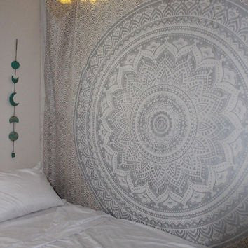 Indian Mandala Hippie Wall Hanging Cotton Gray/Silver Tapestry Ombre Tapestry