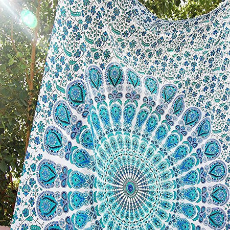 Indian Peacock Hippie Ethnic Bohemian Psychedelic Mandala Twin Tapestry - Bless International - Tapestries & Handicraft Exporter & Retailer - 4