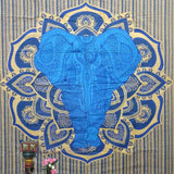 Multi Color Golden Blue Front Elephant Tapestry