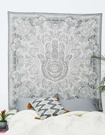 Black And White Indian Traditional Mandala Hippie Wall Hanging Cotton Tapestry Bohemian Bedspread (Sketched Hand 84x90 Inch Queen Size)