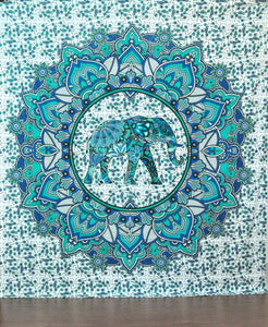 Green Elephant Flower Elephant Tapestry by Bless International