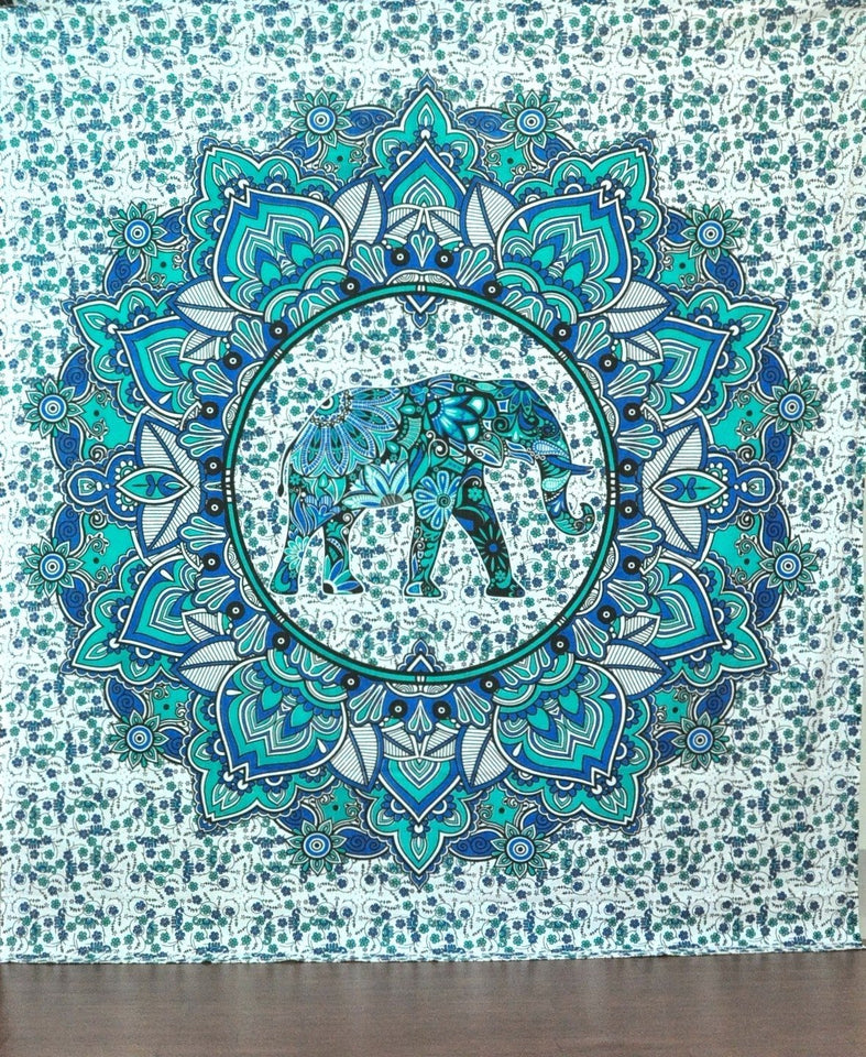 Green Elephant Flower Elephant Tapestry