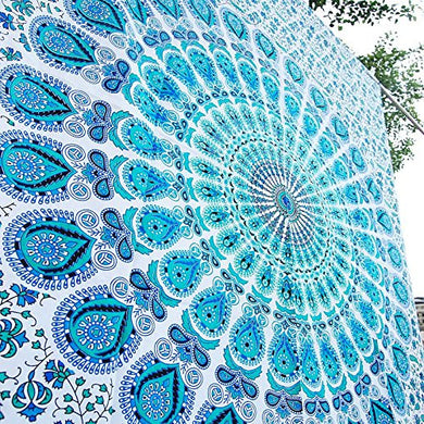 Sky Blue Indian Peacock  Mandala White Blue Tapestry