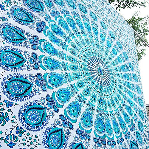 Sky Blue Indian Peacock Hippie Ethnic Bohemian Psychedelic Mandala White Blue Tapestry
