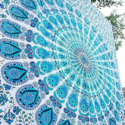Indian Peacock Hippie Ethnic Bohemian Psychedelic Mandala White Blue Tapestry