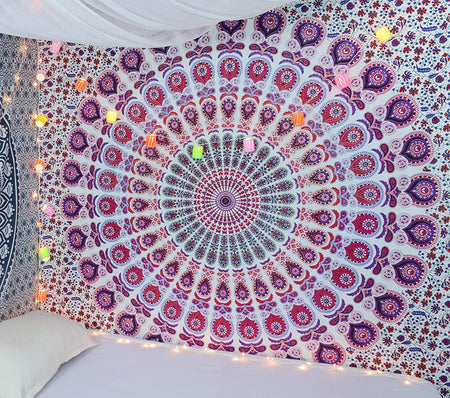 Indian hippie Bohemian Psychedelic Peacock Mandala Wall hanging Pink Blue Bedding Tapestry