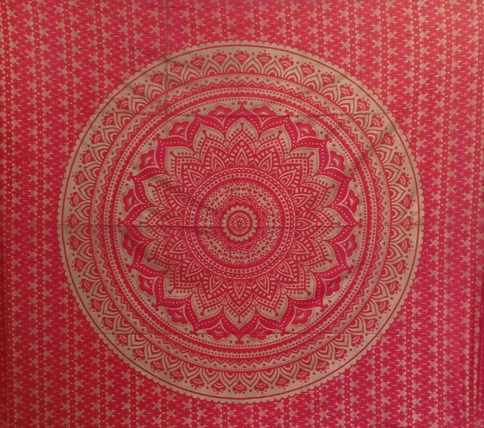 Bless International Indian Hippie Bohemian Psychedelic Tapestry (Queen (84x90Inches)) (Red Gold Mandala Tapestry)