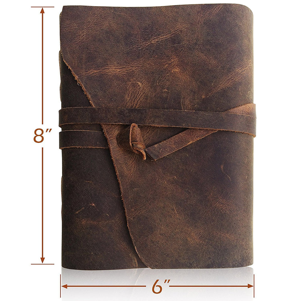 "Bless-Pure-Soft-Leather-Journal-Travel-Diary Handmade-Unlined-Cream-Paper Antique-quality-Vintage-Bound-Notebook-for-Men-Women (8"" x 6"", Rough Leather With Lace(Curve Cut))"