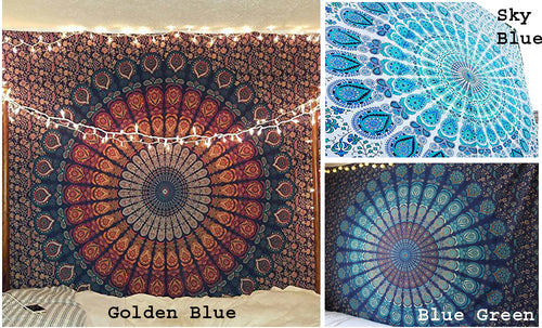 Bless International Queen Size (84x90 Inch) Mandala Tapestries Combo of 3, Golden Blue, Blue Green, Sky Blue