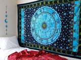 Indian Zodiac Horoscope Hippie Bohemian Beach Blanket Bedspread Handmade Twin Tapestry