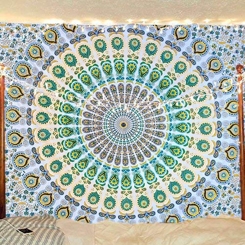 Bless International Yellow Green Indian Hippie Bohemian Psychedelic Peacock Mandala Wall Hanging Bedding Tapestry