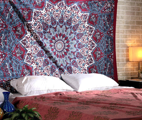 Indian Psychedelic Red Star Mandala Bohemian Twin Handmade Tapestry