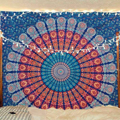 Golden Blue  Peacock Mandala Wall Hanging Bedding Tapestry
