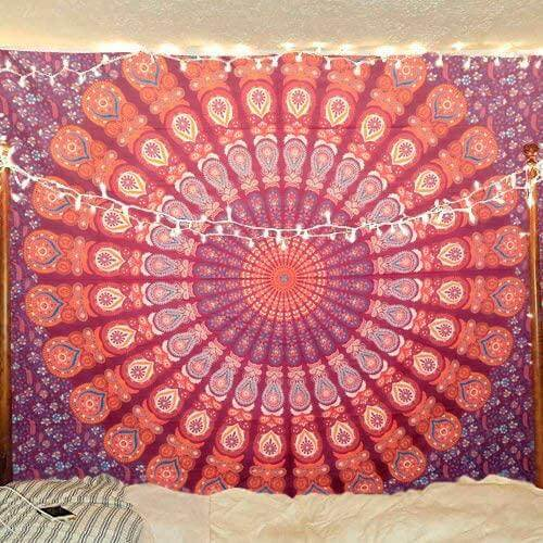 Bless International Indian Hippie Bohemian Psychedelic Peacock Mandala Wall Hanging Bedding Tapestry (Blue Red, King(88x104Inches)(225x265Cms))