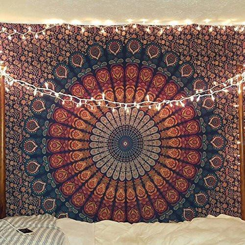 Golden Blue Peacock Mandala Tapestry