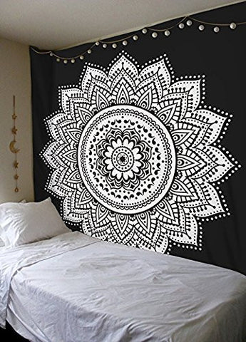 Black And White Ombre Wall Hanging Indian Traditional Cotton Printed Mandala Bohemian Hippie Large Wall Art Queen Size Tapestry