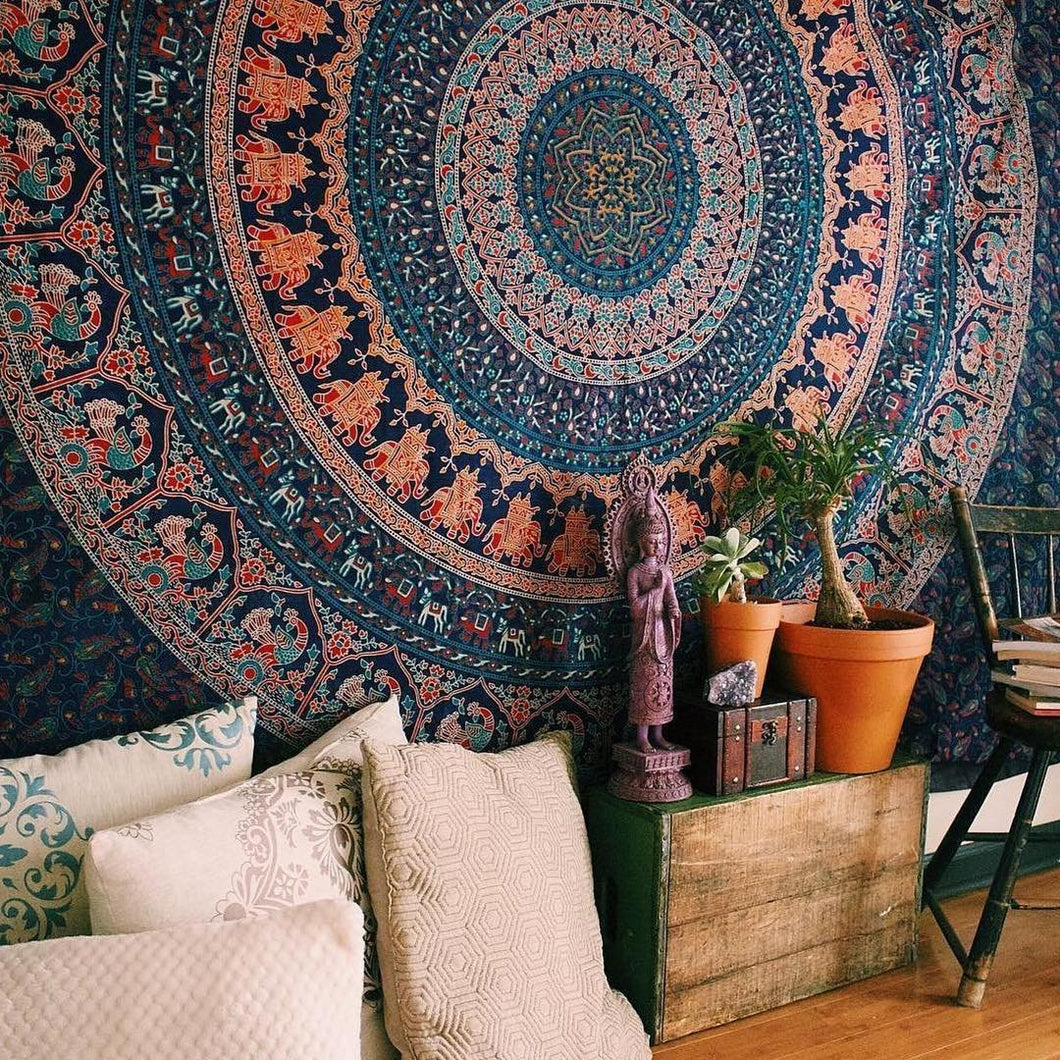 Indian-hippie-gypsy Bohemian-psychedelic Cotton-mandala Wall-hanging-tapestry(Twin Size( 84x54) Inch)