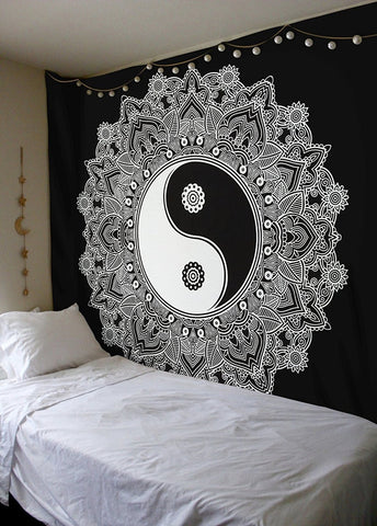 Indian Elephant Black and White Bohemian Dorm Decor Mandala Hippie Psychedelic Handmade Queen Tapestry