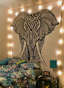 Black And White Front Elephant Tapestry by TapestryMantra