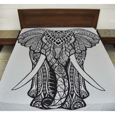 Black and White Elephant Hippie Twin Mandala Tapestry - Bless International - Tapestries & Handicraft Exporter & Retailer - 4