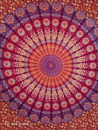 Bless International Indian Hippie Bohemian Psychedelic Peacock Mandala Wall Hanging Bedding Tapestry (Blue Red, Queen(84x90Inches)(215x230Cms)